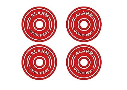 4 Pegatinas Premium con Alarma, Sistema de Alarma, Advertencia Redonda, Resistente a la Intemperie ya los Rayos UV
