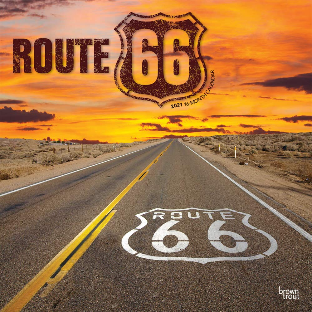 Route 66 2021 12 x 12 Inch Monthly Square Wall Calendar, USA