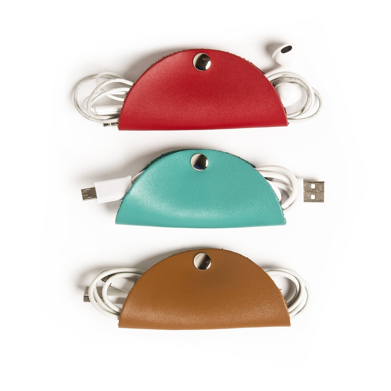 Brouk & Co Cord Taco Trio - (Red/Turquoise/Brown) - Cable Organizer Snaps for Tech Accessories