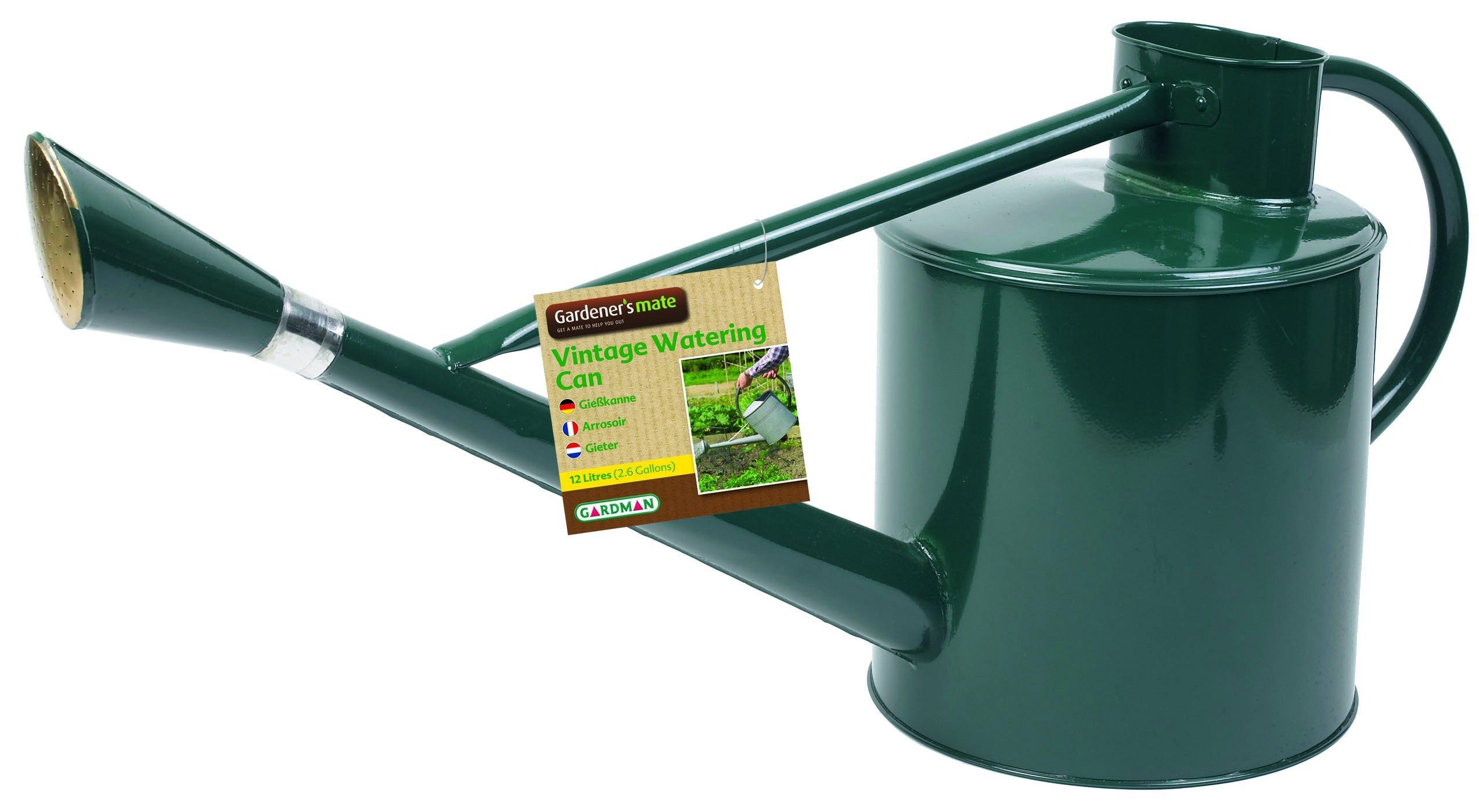 Gardman 8345 Long Reach Galvanized Steel Watering Can, 2-Gallon, Green by Gardman