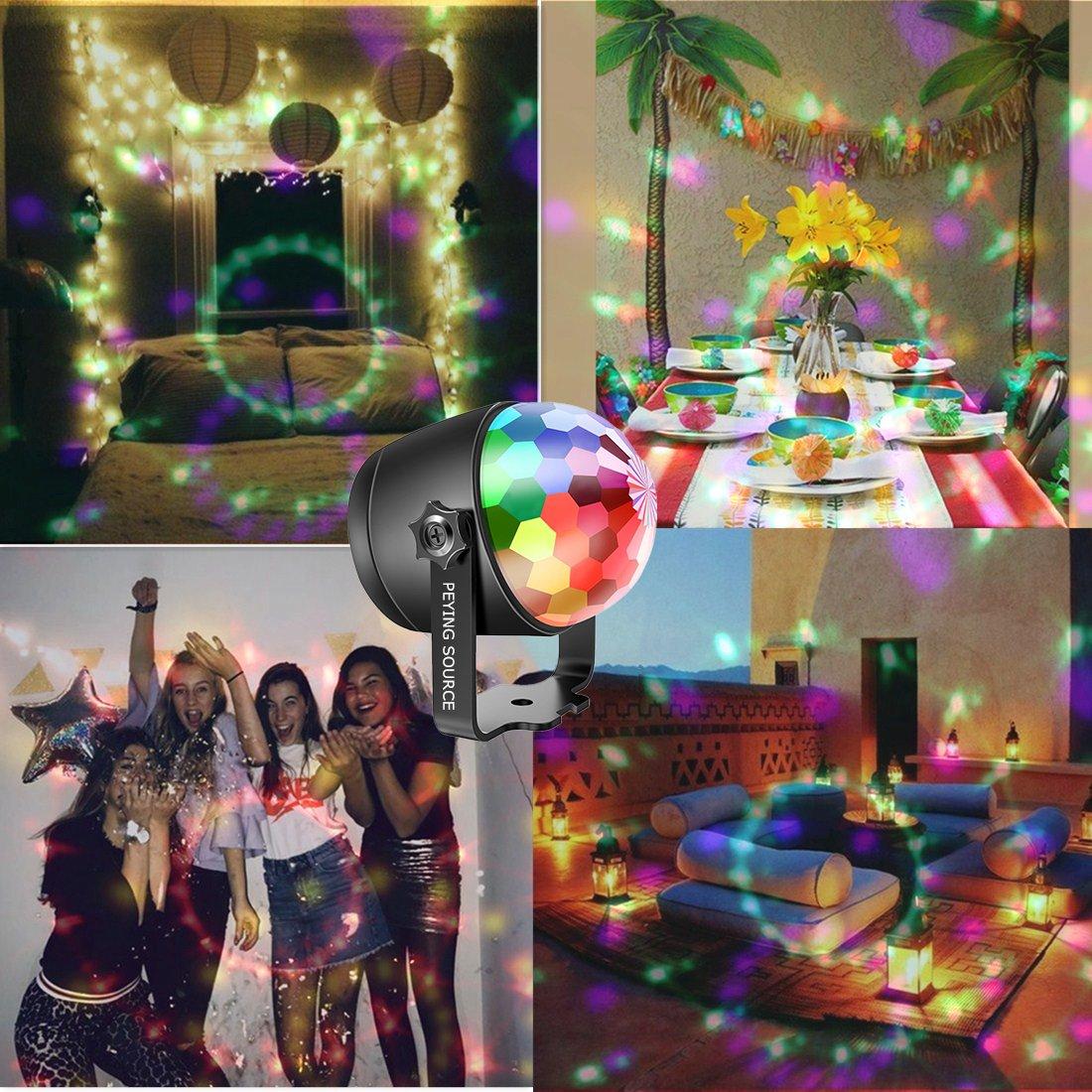 Luces Discoteca Bola Fiesta Escenario Mágica Lámpara Noche Luz 2 en 1 RVABPA 6W Colores para Disco Fiesta Bar Etapa Boda Habitación Decoración PEYING SOURCE (6 color)