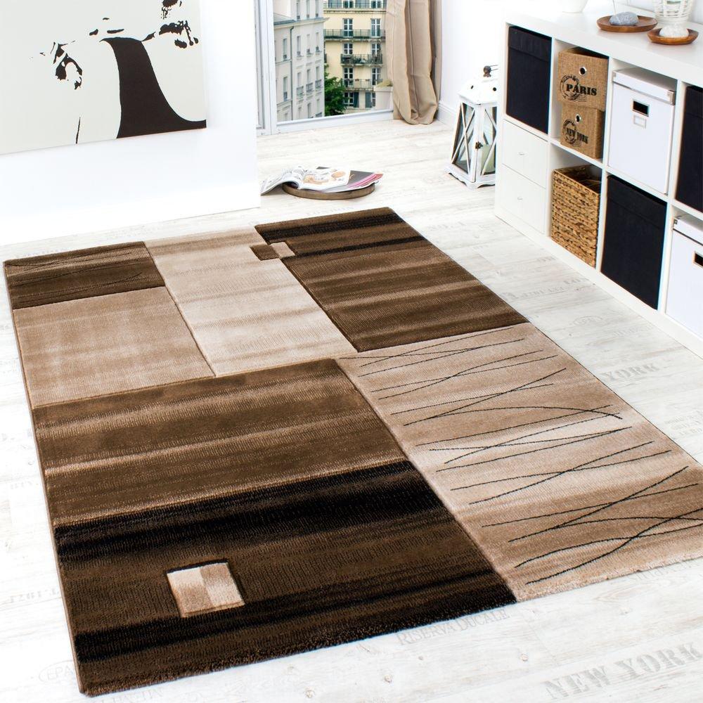 Paco Home Edler Designer Teppich Geometrisch mit Konturenschnitt in Braun Beige Creme Meliert, Grösse:200x290 cm