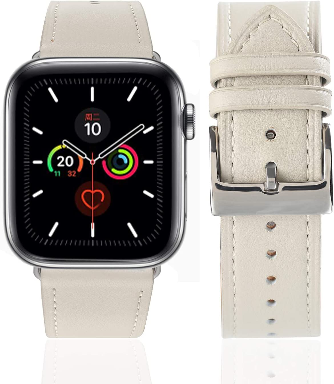 Leather Bands Compatible with Apple Watch Band 38mm 40mm 42mm 44mm, Top Grain Leather Smart Watch Band Compatible for Men Women iWatch Series6/5/4/3/2/1 (Off-white + silver buckle, 42mm 44mm)