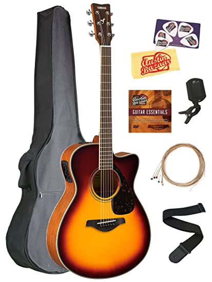 Yamaha FSX820C Small Body Acoustic-Electric Guitar Bundle with Gig Bag, Tuner, Strap