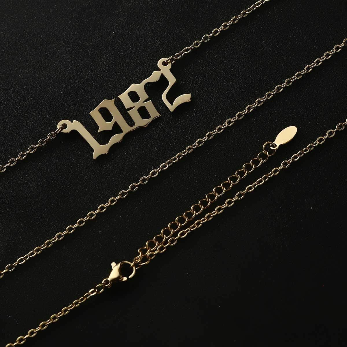 18K Gold Plated Custom Old English Year Pendant Necklace Birth Year Number Necklace Birthday Gifts for Women Girls Gold Chain 18 Inch M MOOHAM Birth Year Necklace Personalized