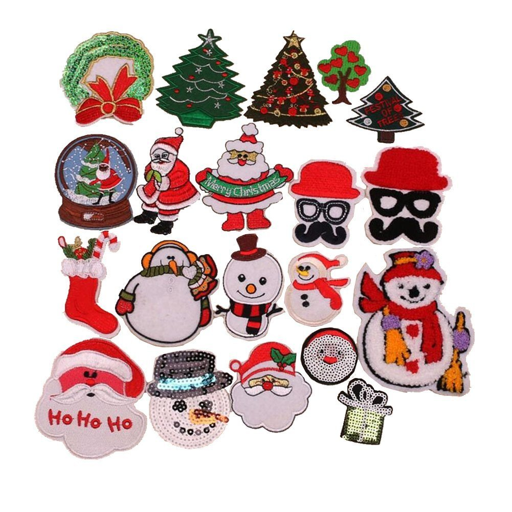Assorted 21pcs Christmas Santa Snowman Tree Christmas Garland Embroidered Iron on Patches Appliques Decorative Repair Patches DIY Sew on Patches for Jeans Clothing Zhiheng