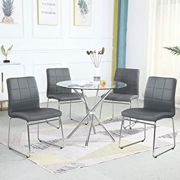 Amazon Com Dining Table Set For 4 Modern Kitchen Table And Chairs For Small Space Round Glass Dining Table Faux Leather Dining Room Chairs Set Of 5 Pieces Easy Assembly For Home Business Table 4