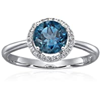 Sterling Silver London Blue Topaz And Natural White Zircon Classic Round Princess Di Halo Engagement Ring