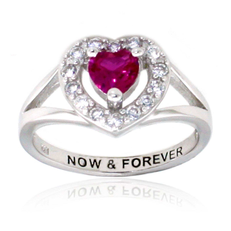 Argent Fin anneau robe rubis clair et cubique Bague coeur de zircone