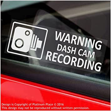 5 x warning dash cam recording 30x87mm window stickers vehicle camera security warning dash