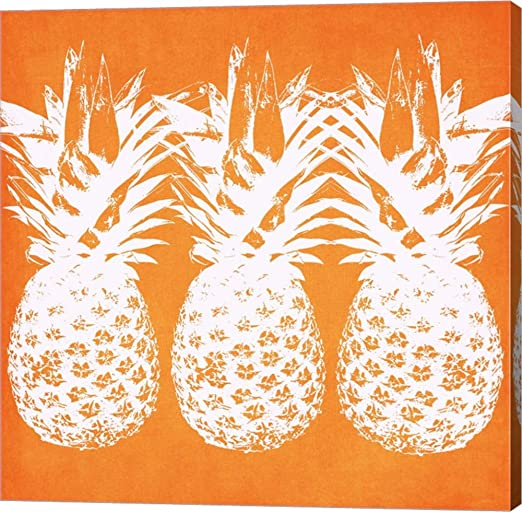 Orange Pineapples by Linda Woods Canvas - orange wall decor