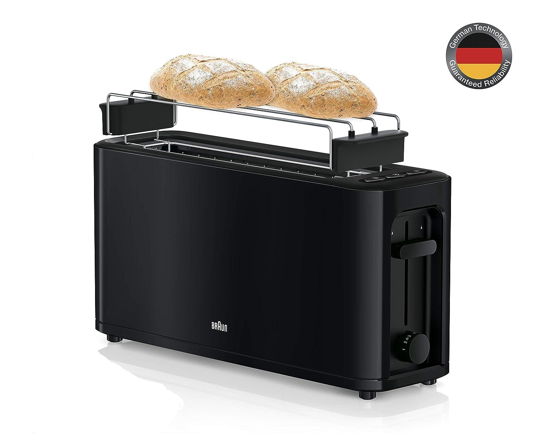Braun HT3000WH - Tostador pan, 1000 w, 2 ranuras, rejilla desmontable, recogecable, color blanco: Amazon.es: Hogar