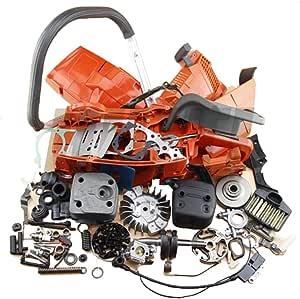 Farmertec Complete Repair Parts Rear Handle Muffler Flywheel for Husqvarna 365 362 371 372 372XP Engine Motor CRANKCASE Cylinder Piston CRANKSHAFT Chainsaw Woodworkers Carpenters
