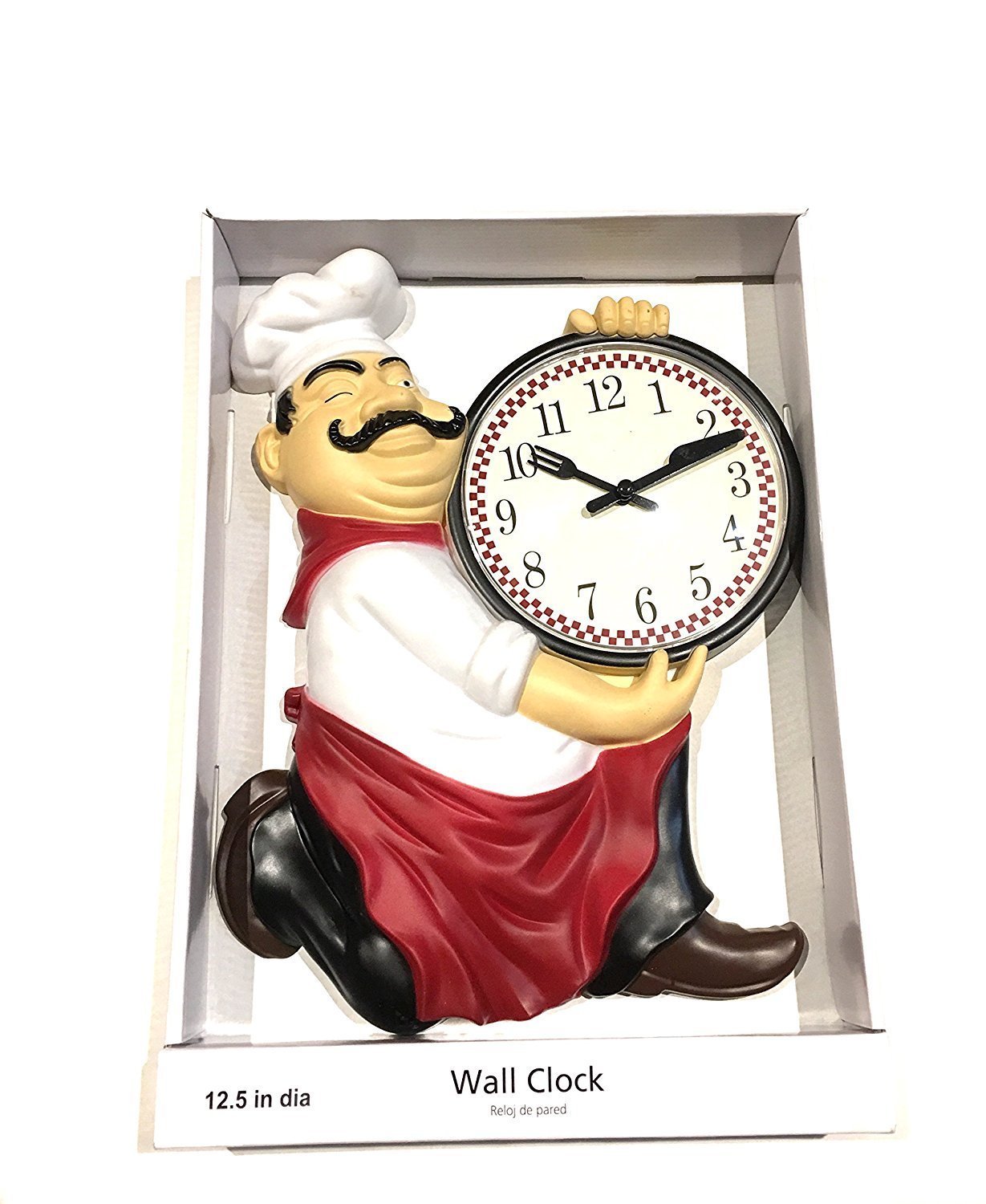 Fat Chef Holding Knife & Fork Wall Clock 12.5""