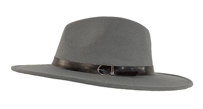 6a24deefce655 MWS Wide Brimmed Gangster Fedora w Buckle Hatband