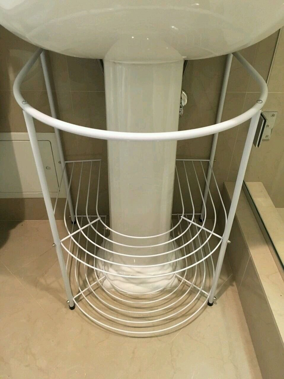 Bathroom Storage Rack white Under Pedestal Sink Towels Stand Modern Shelves trois_s Does not apply