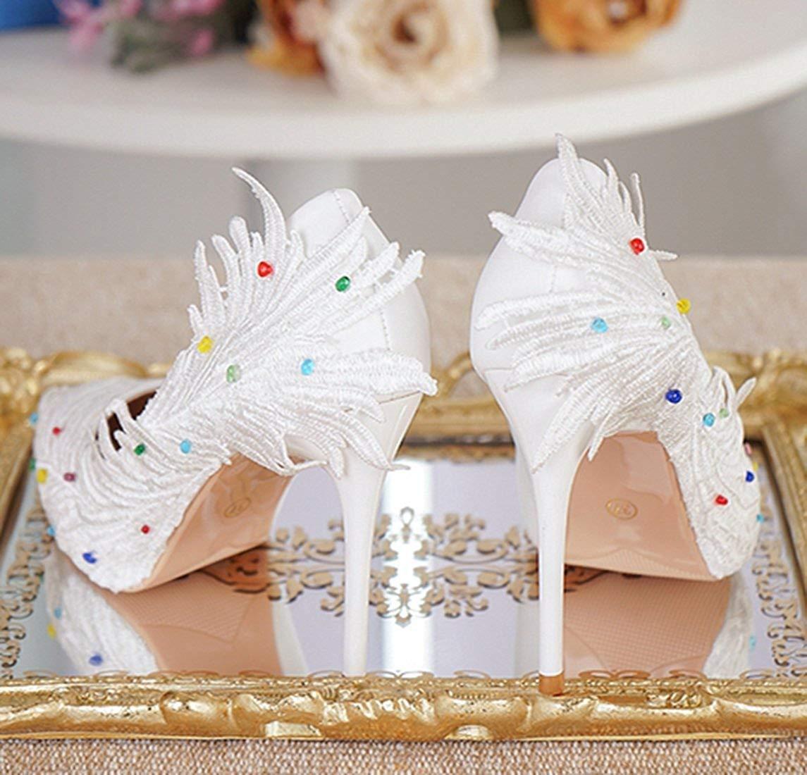 Qiusa Damen grünen Stil Slip-on Satin Braut Hochzeit Hochzeit Hochzeit Outdoor-Pumps (Farbe   Weiß-9cm Heel, Größe   2.5 UK) 44eda2