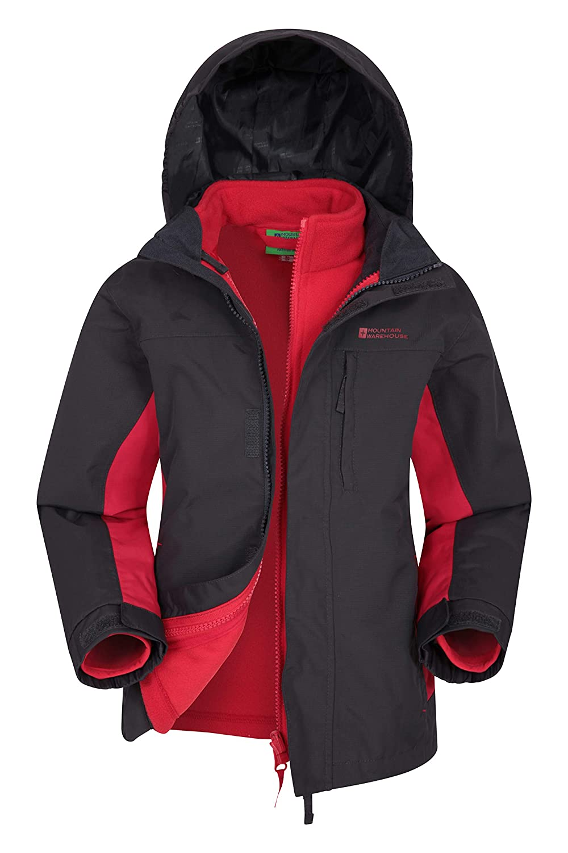 Mountain Warehouse Cannonball 3 in 1 Kids Waterproof Jacket Coat