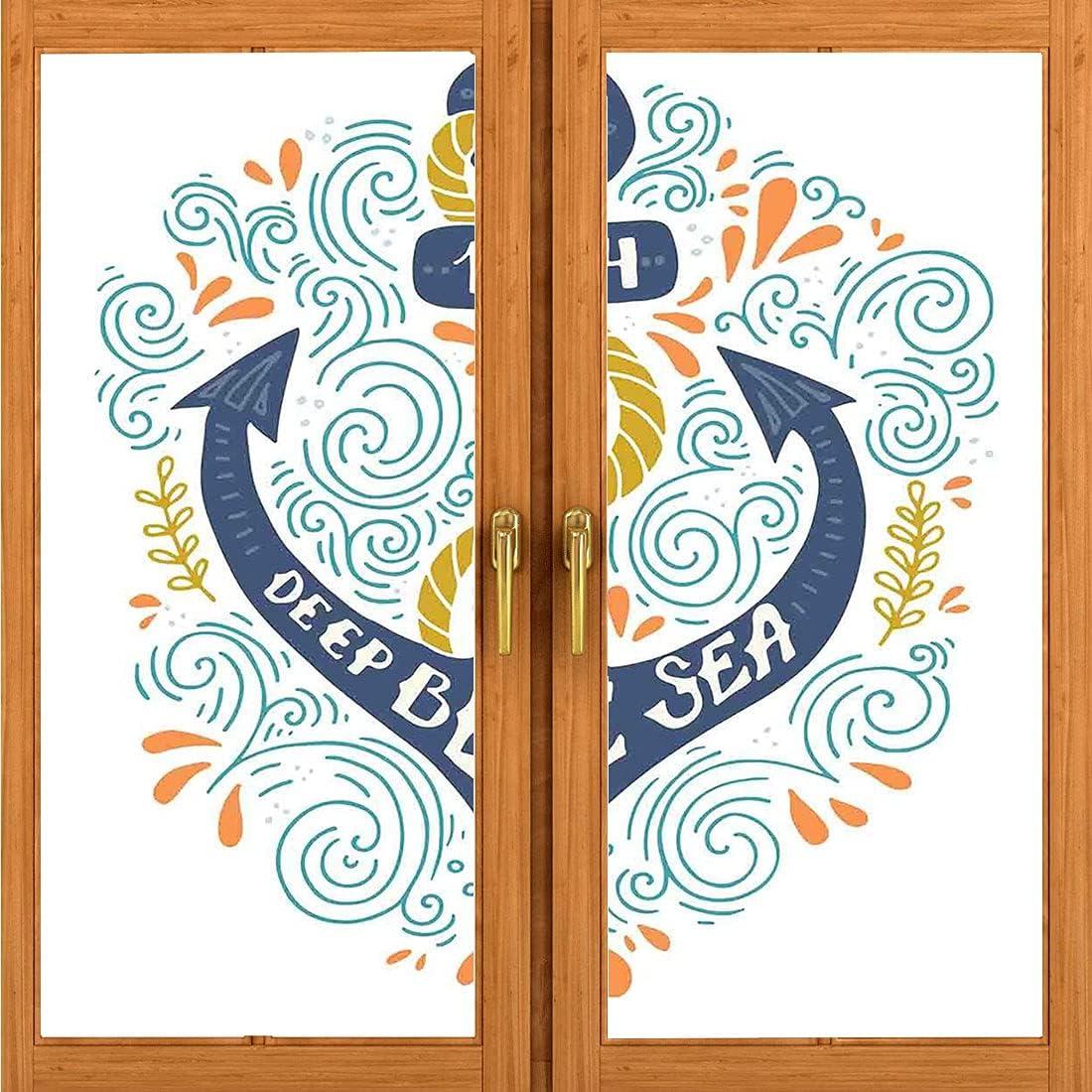 Decorative Static Glass Film, Nautical Decor,Colorful Anchor Letterers Deep Blue Sea Marine Design Sea Ship Nautical Decorative, Removable Door Wall Mural Door Stickers L17.7 x H78.7