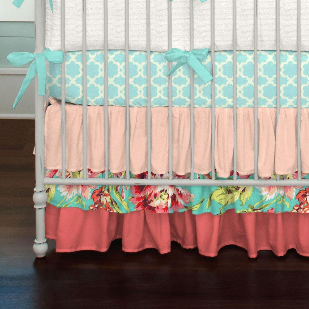 Carousel Designs Coral and Teal Floral Crib Skirt Three Tier 18-Inch Length