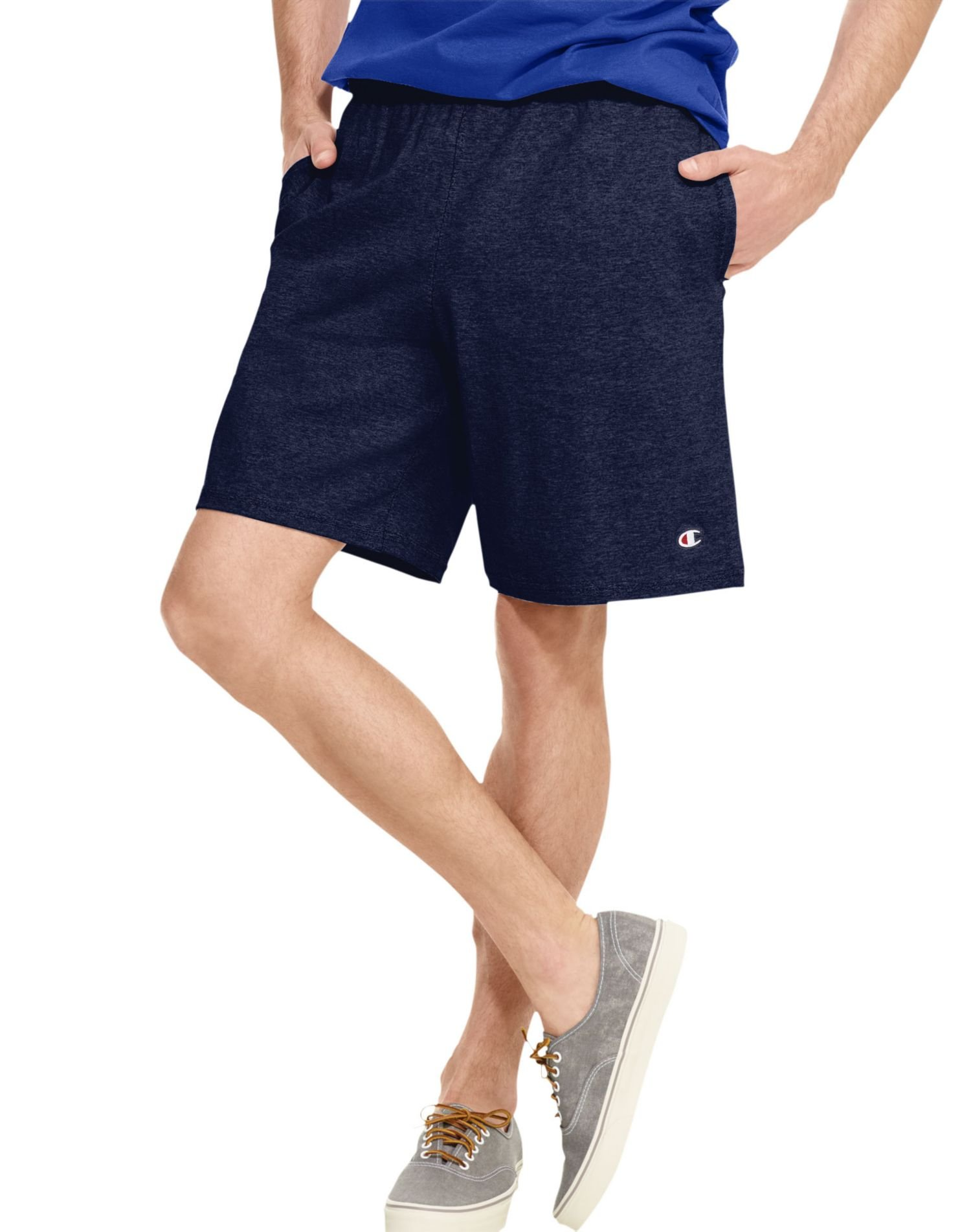 Champion Authentic Men`s Cotton Jersey 9-inch Shorts with Pockets, M