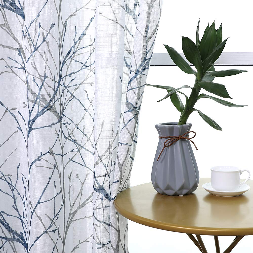 """Print Blue White Semi-Sheer Curtain Panels 63"""" Tree Branch Painting on Textured Window Treatment Set for Living Room Draperies 50""""w 2-Pack"""