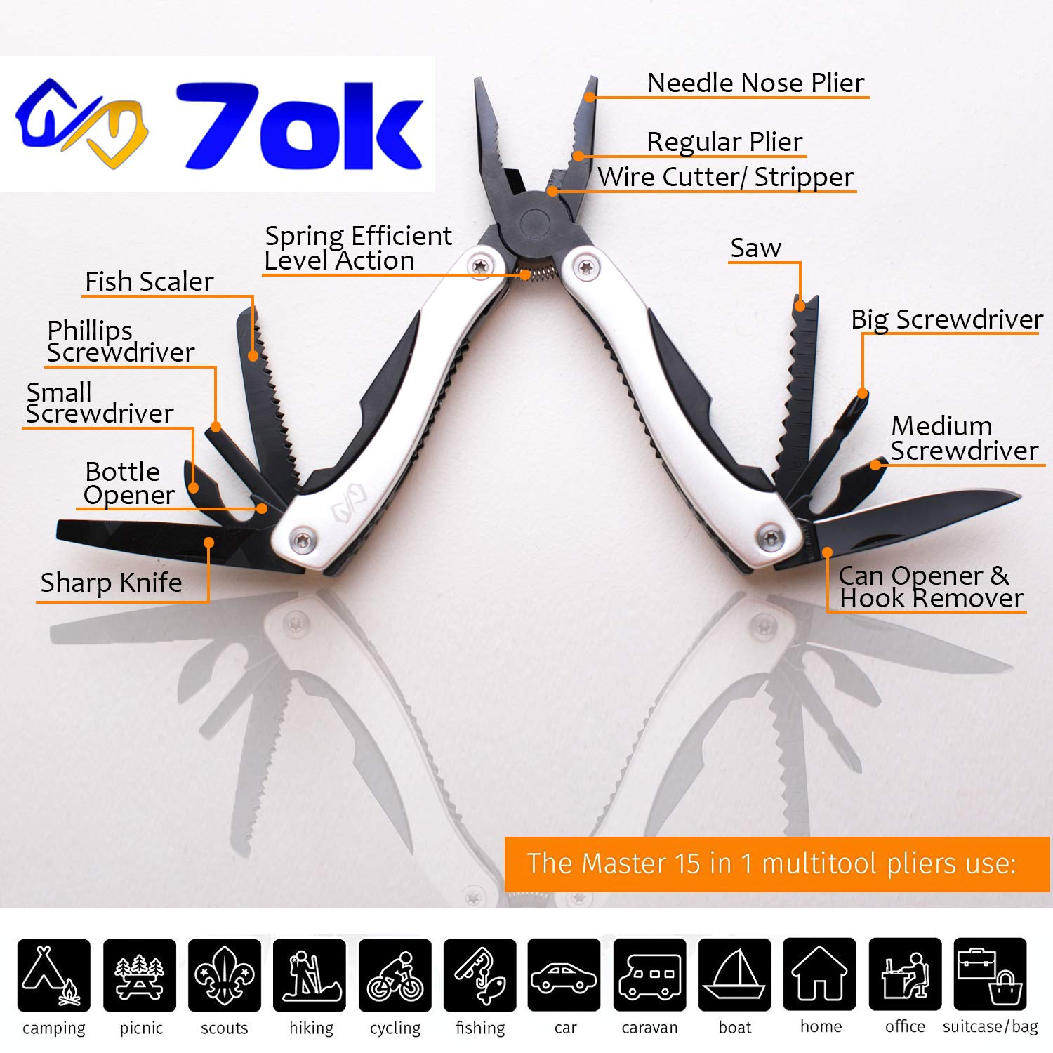 Steel set multitool 25 in 1, pocket knife Multi-Tools pliers LED flashlight. Best for camping, fishing, boyscout, DIY repair, boy scout, car set Great idea Best gift for man, father, dad