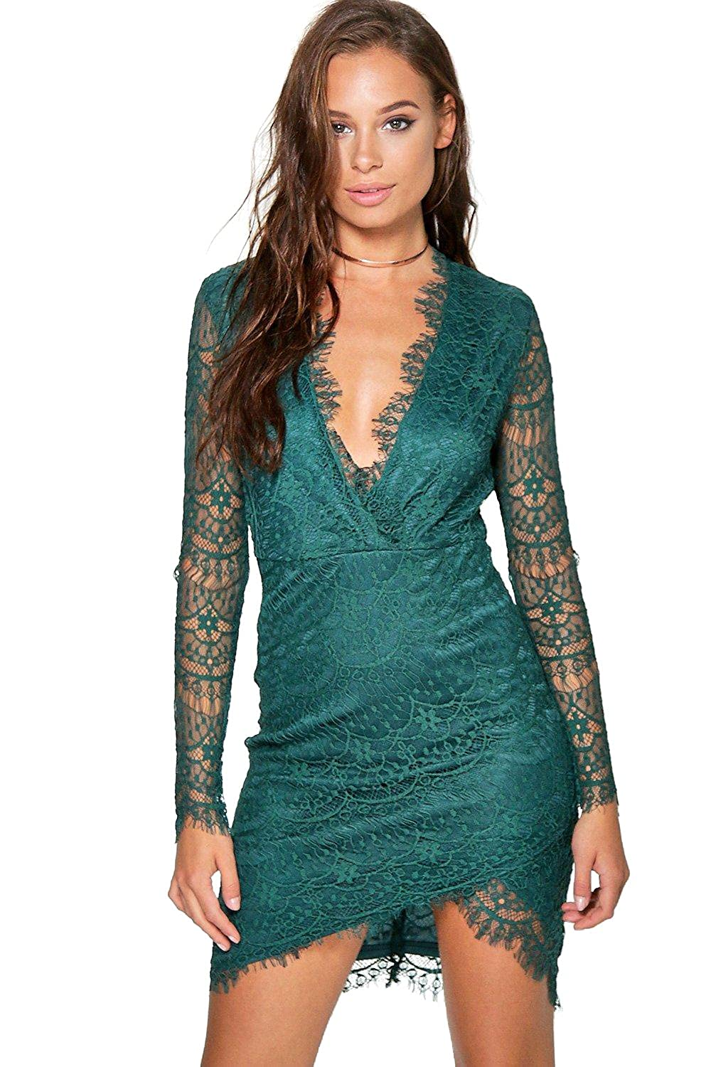 Emerald Womens Suvi All Over Lace Wrap Detail Bodycon Dress