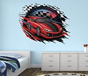 West Mountain Race Car Wall Decal Nursery Art Kids Bedroom Decor Vinyl Playroom Sticker Mural WM09 (36''W x 30''H)