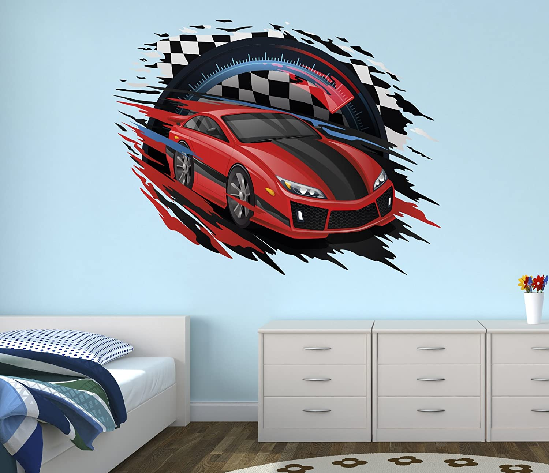 Amazoncom Race Car Wall Decal Nursery Art Kids Bedroom