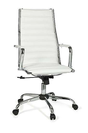 Drehstuhl ergonomisch  AMSTYLE, Bürostuhl, SPM1.114, GENF 1 Bezug Kunstleder Weiß Design ...