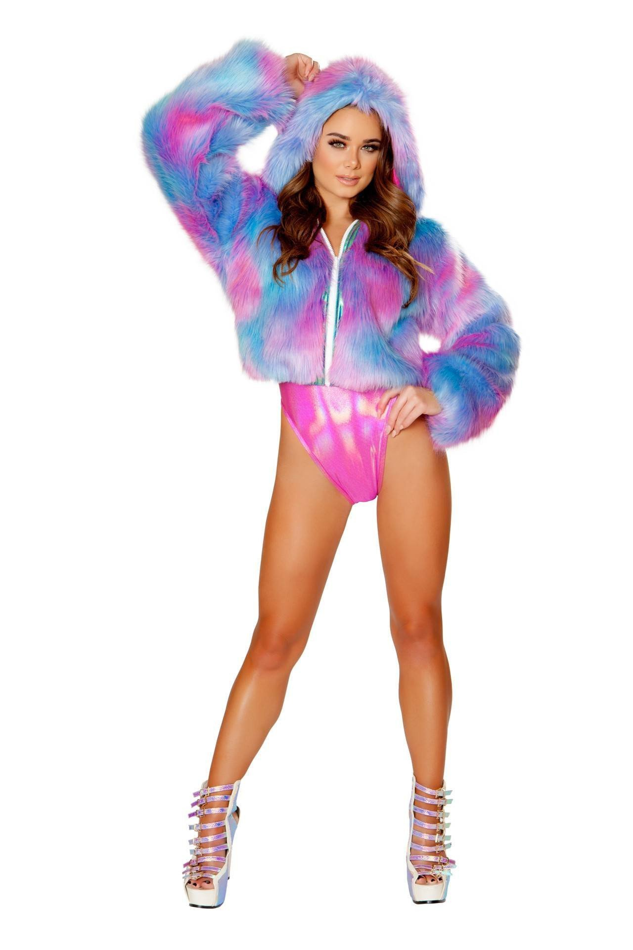 Rave Outfits J. Valentine Kandy Cropped Hooded Jacket With COMPLIMENTARY Shorts