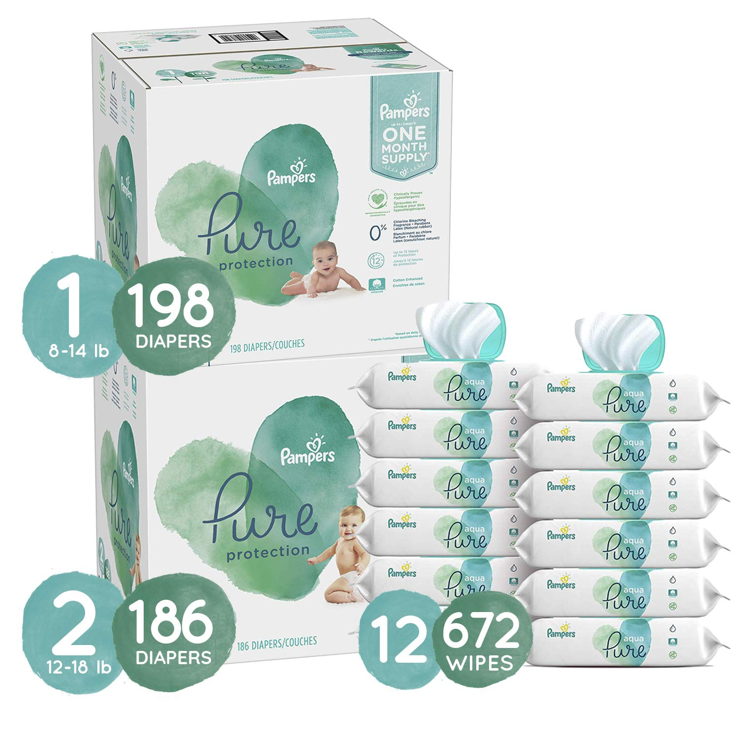 Pampers Baby Diapers and Wipes Starter Kit (2 Month Supply) - Pure Disposable Baby Diapers Sizes 1 (198 Count) & 2 (186 Count), Hypoallergenic and Fragrance Free with Aqua Pure Baby Wipes, 672 Count by Pampers