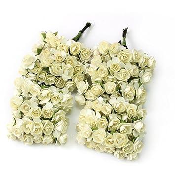 outflower 144pc Mini Künstliche Papier Rose Blume Hochzeit ...