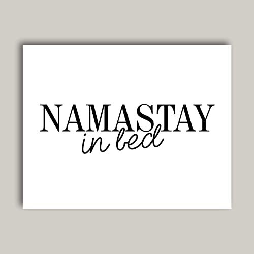 Amazon Com Namastay In Bed Typography Quote Art Print Poster For
