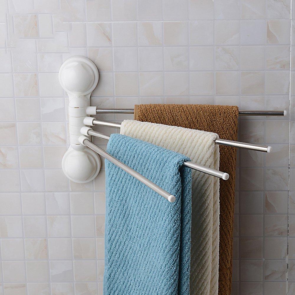 Amazon.com: Towel Rack Holder Hanger Wall Mounted Stainless Steel 4 ...