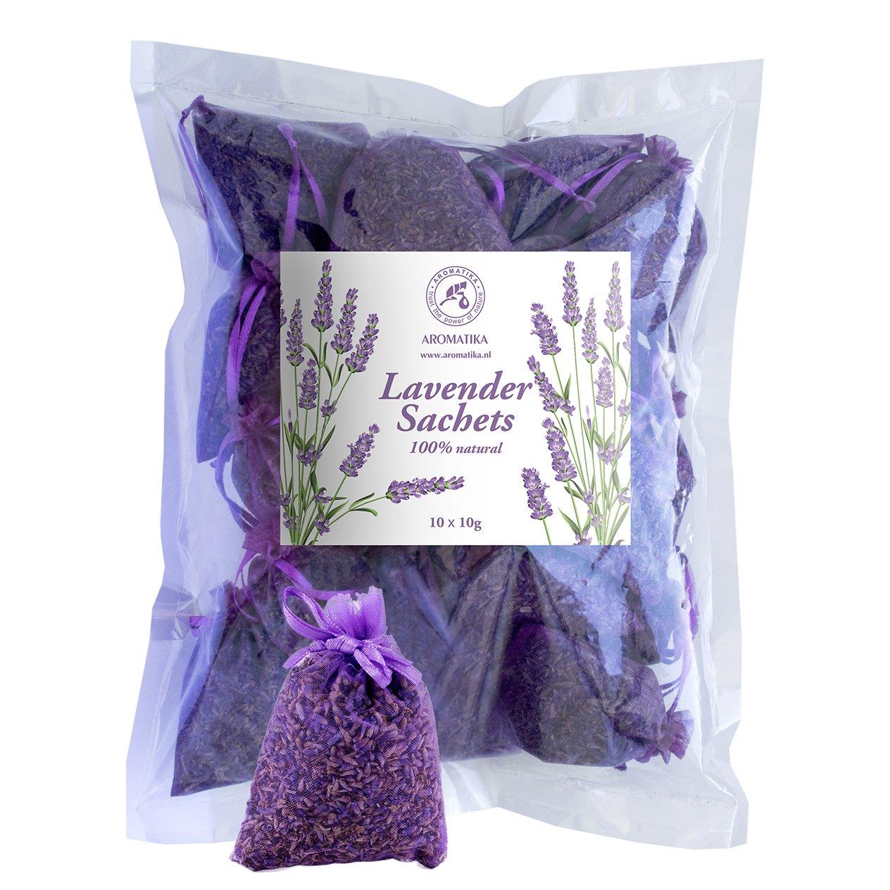 Lavanda Sacchetti - Fiori Lavanda Francese Essiccati - 10 X 10g - Sacchetto Profumato Set Regalo Di Aromatika