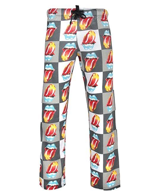 Celebrity Iconos Rolling Stones Oficial Tongue Logo Mens Impreso Salón Pantalones Pijamas (XL)
