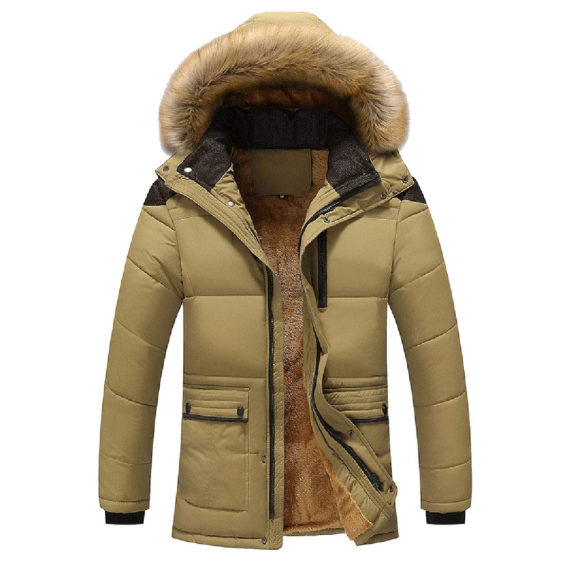 YUNY Mens Faux Fur Hooded Oversized Quilted Parka Jacket Outdoor Coat Khaki M