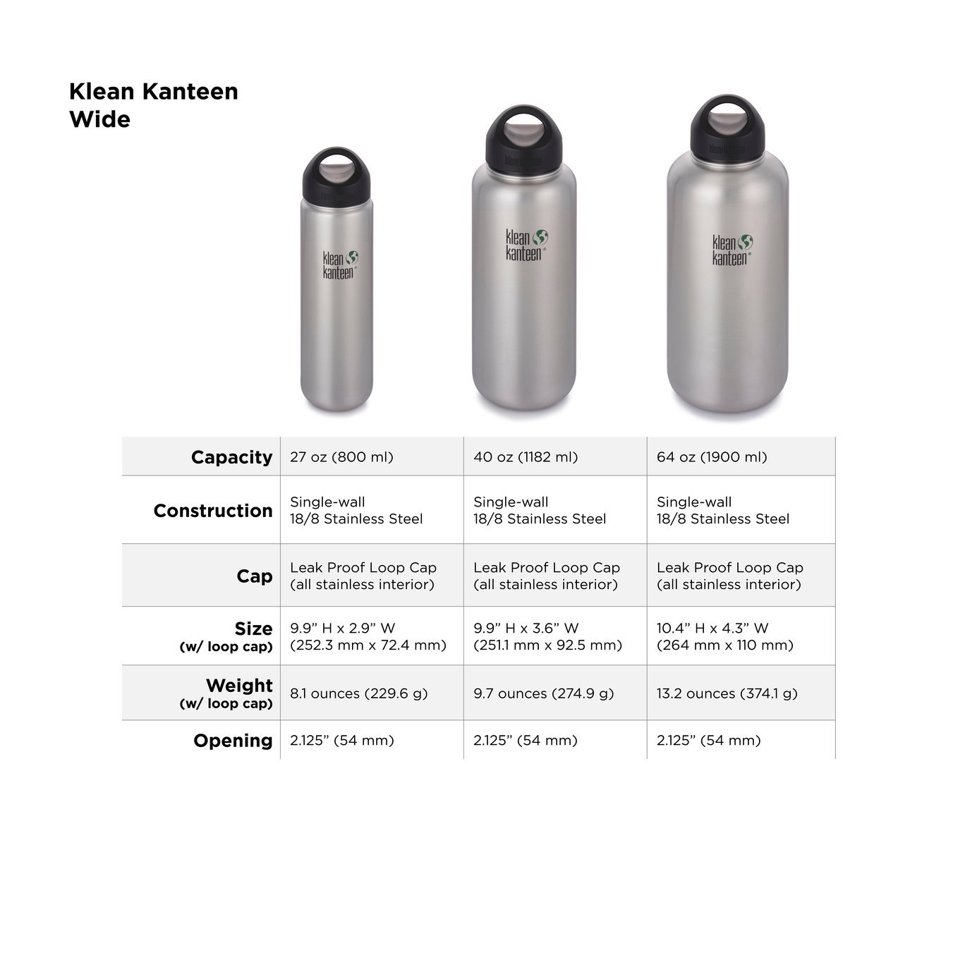 Klean Kanteen Wide Mouth Stainless Water Bottle 1900ml