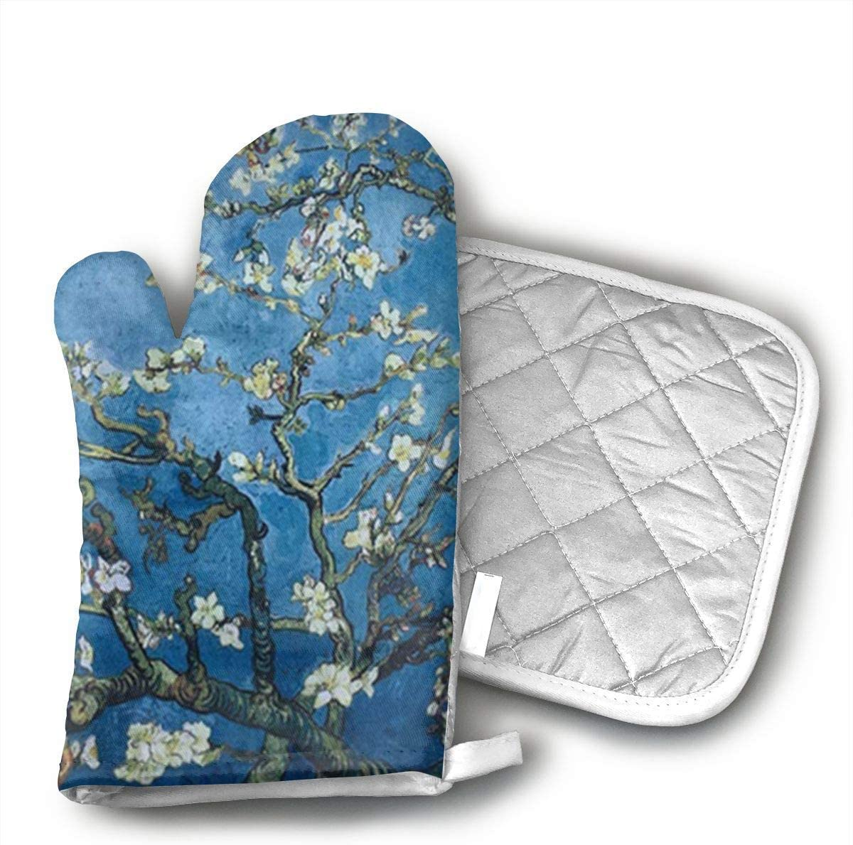 Almond Blossoms Vincent Van Gogh Oven Mitts and Pot Holders Set with Polyester Cotton Non-Slip Grip, Heat Resistant, Oven Gloves for BBQ Cooking Baking, Grilling