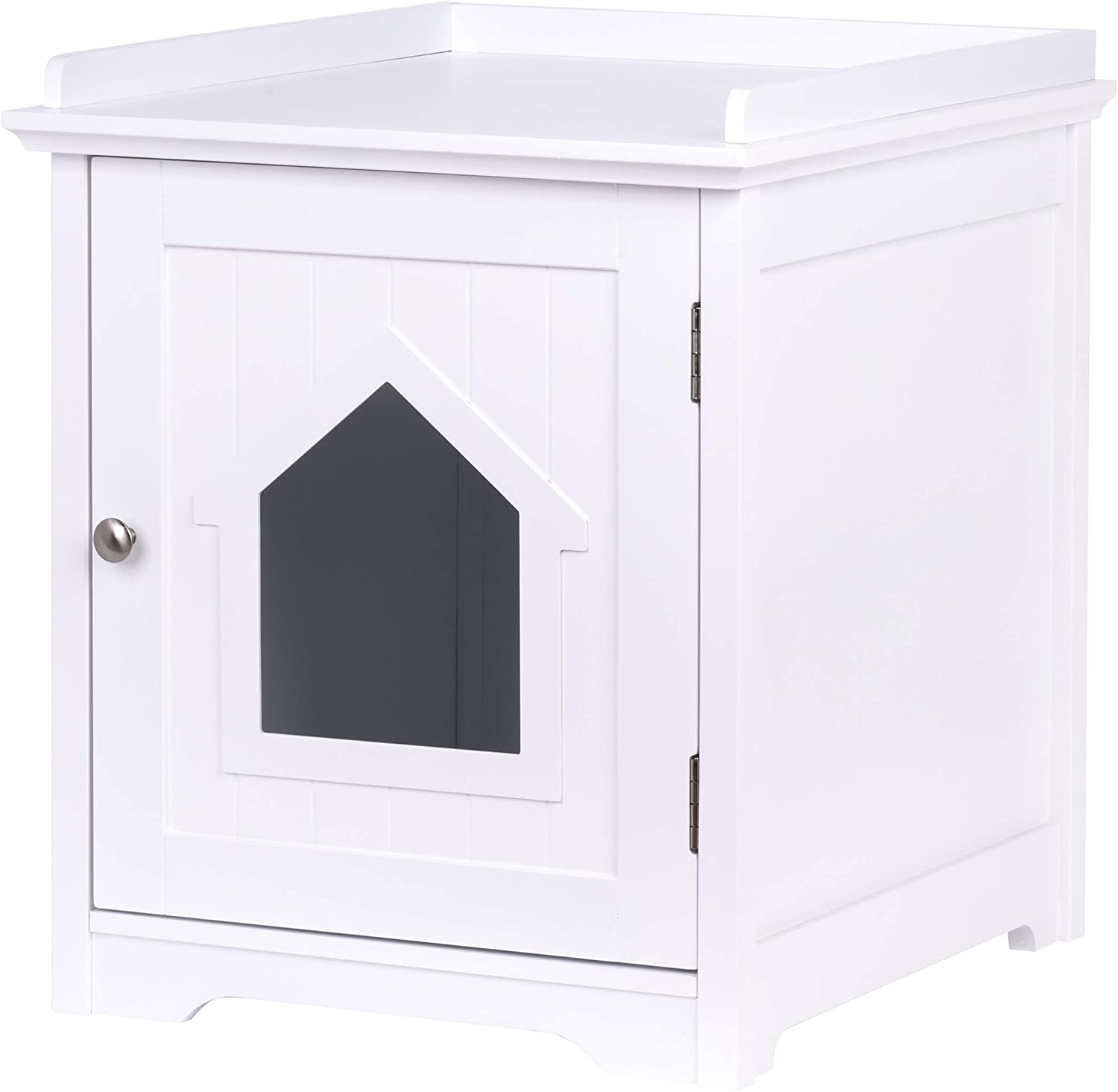 Pawland Cat Litter Box Enclosure Cat House Side Table Night Stand Pet House Indoor Cat House White Pet Supplies
