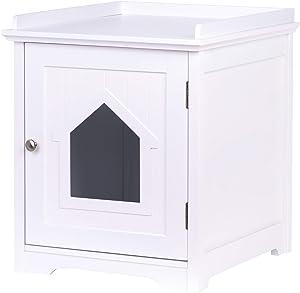 PAWLAND Decorative Cat House,Cat Home, Indoor Pet Crate - Litter Box Enclosure