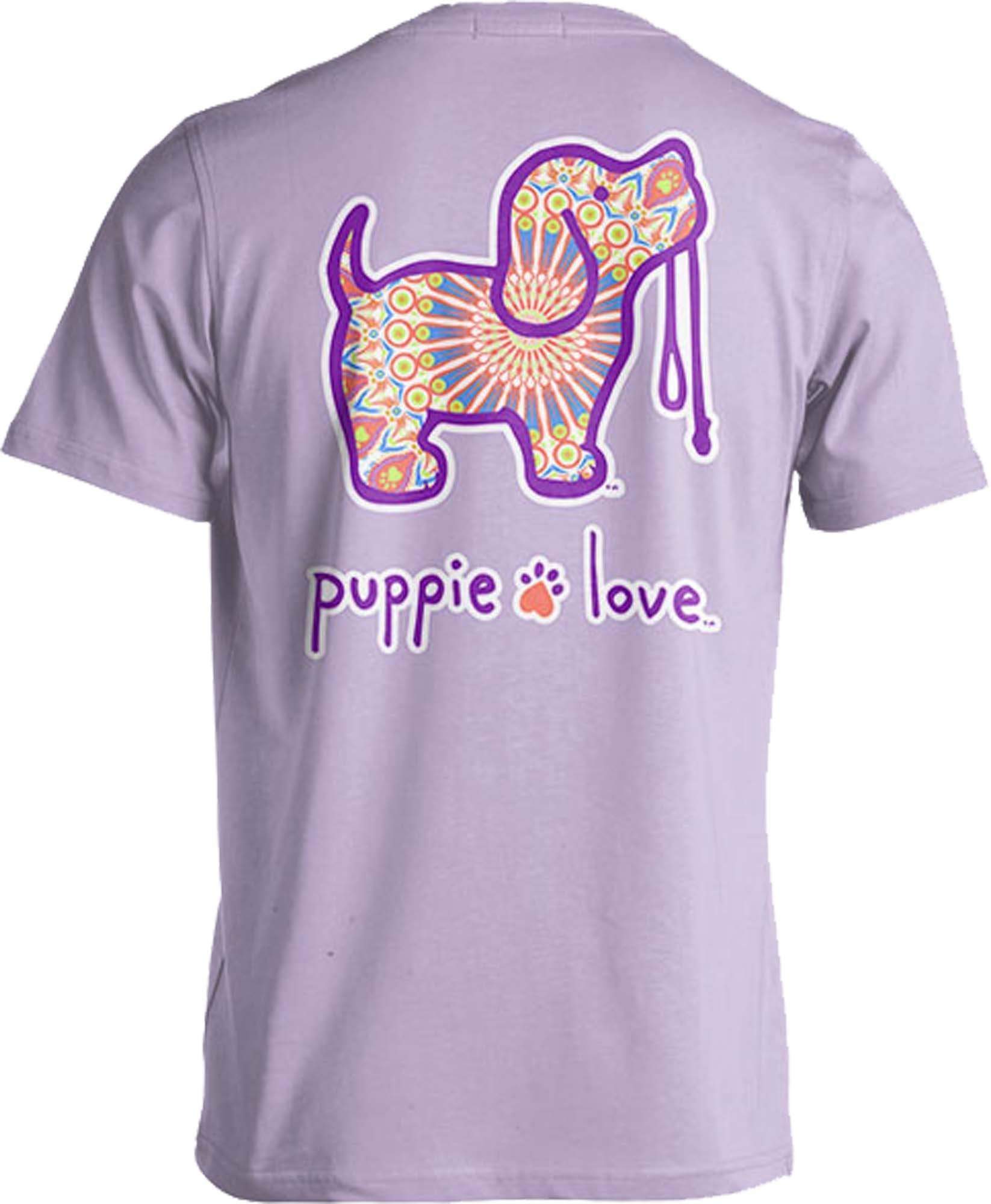 Rescue Dog Adult Unisex Short Sleeve Cotton T-Shirt, Boho Pup (Small, Orchid)
