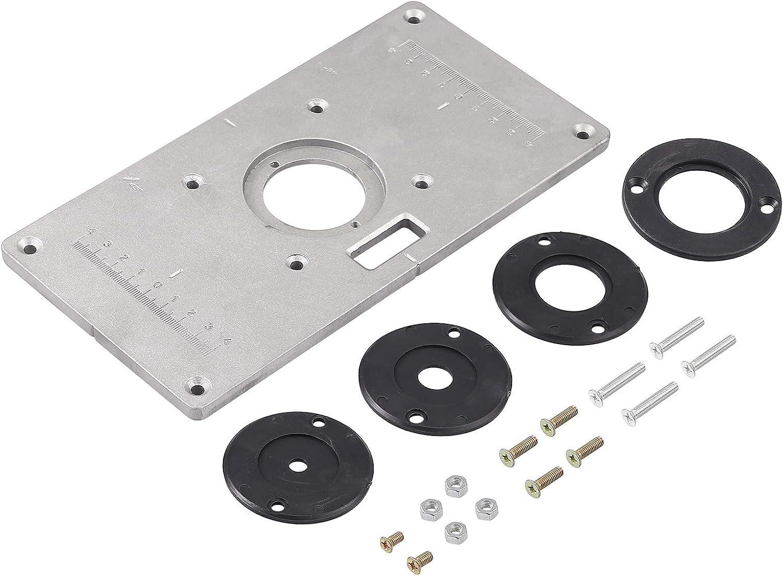 Einlegeplatte Router Tisch Platte Befestigungsplatte Aluminium Holz Router Trimmer Gravur Flip Board DIY Router F/ür Oberfr/äse Zubehoer Fr/ästisch
