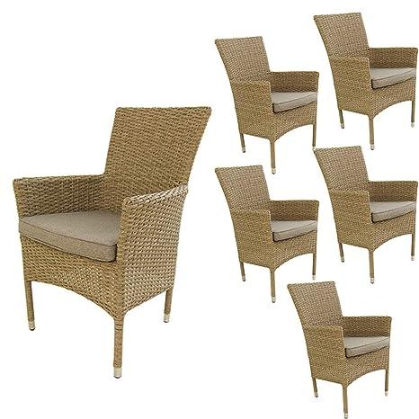 Edenjardi Pack 6 sillones de Exterior apilables, Tamaño: 55x62x92 cm, Aluminio y rattán sintético Color Natural, Cojín marrón