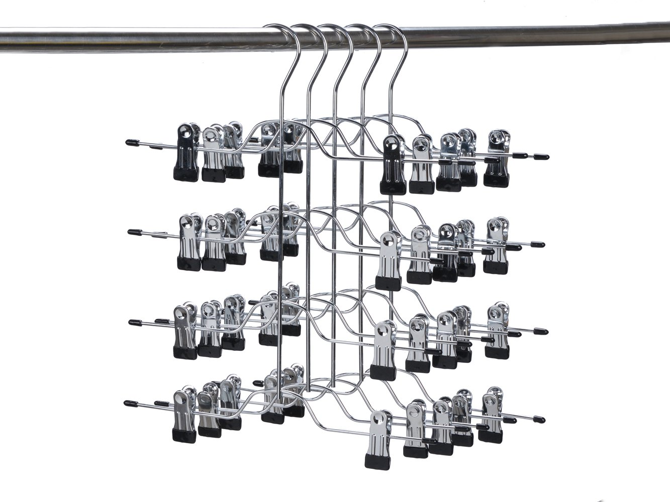 5 Quality 4-Tier Pant Skirt Trouser Hangers Heavy Duty Metal and Clips (5)