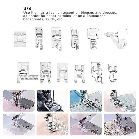 Máquina de coser Presser Foot Kit Hem Pies de repuesto Accesorios para Brother Singer Juego de 42/45/48 piezas (48): Amazon.es: Hogar