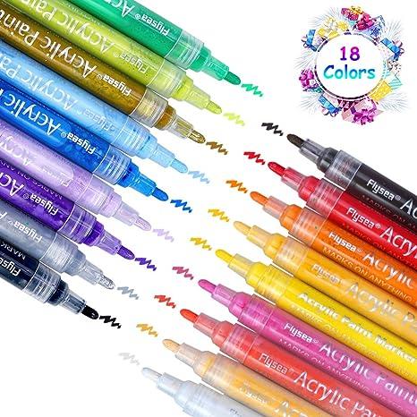 Acrylstifte Marker Stifte, 18 Farben Premium Wasserfest Paint Marker Set Art Filzstift Acrylic Painter für Glasmalerei,Garten