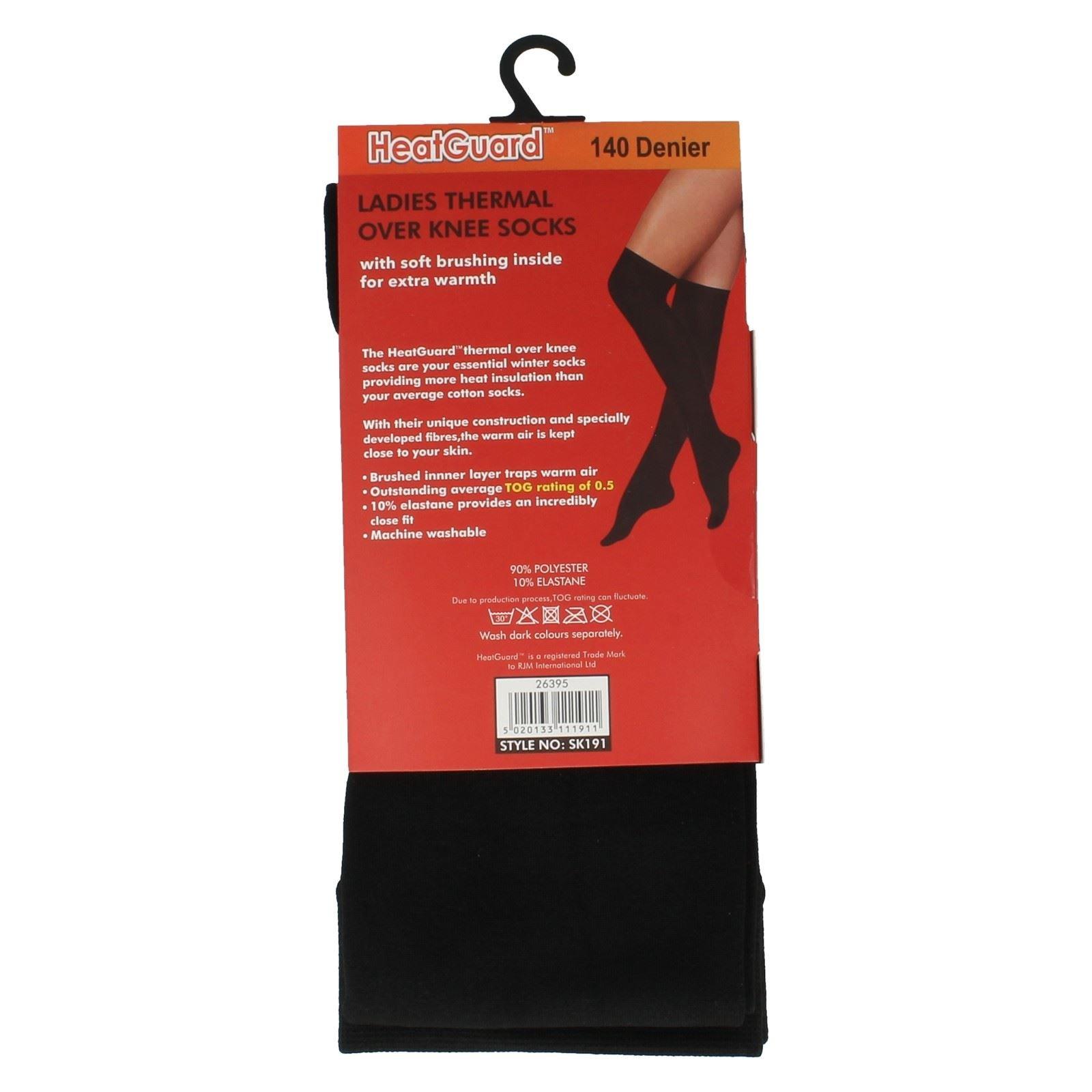 HeatGuard Ladies Thermal Over the Knee Socks Black 4-7